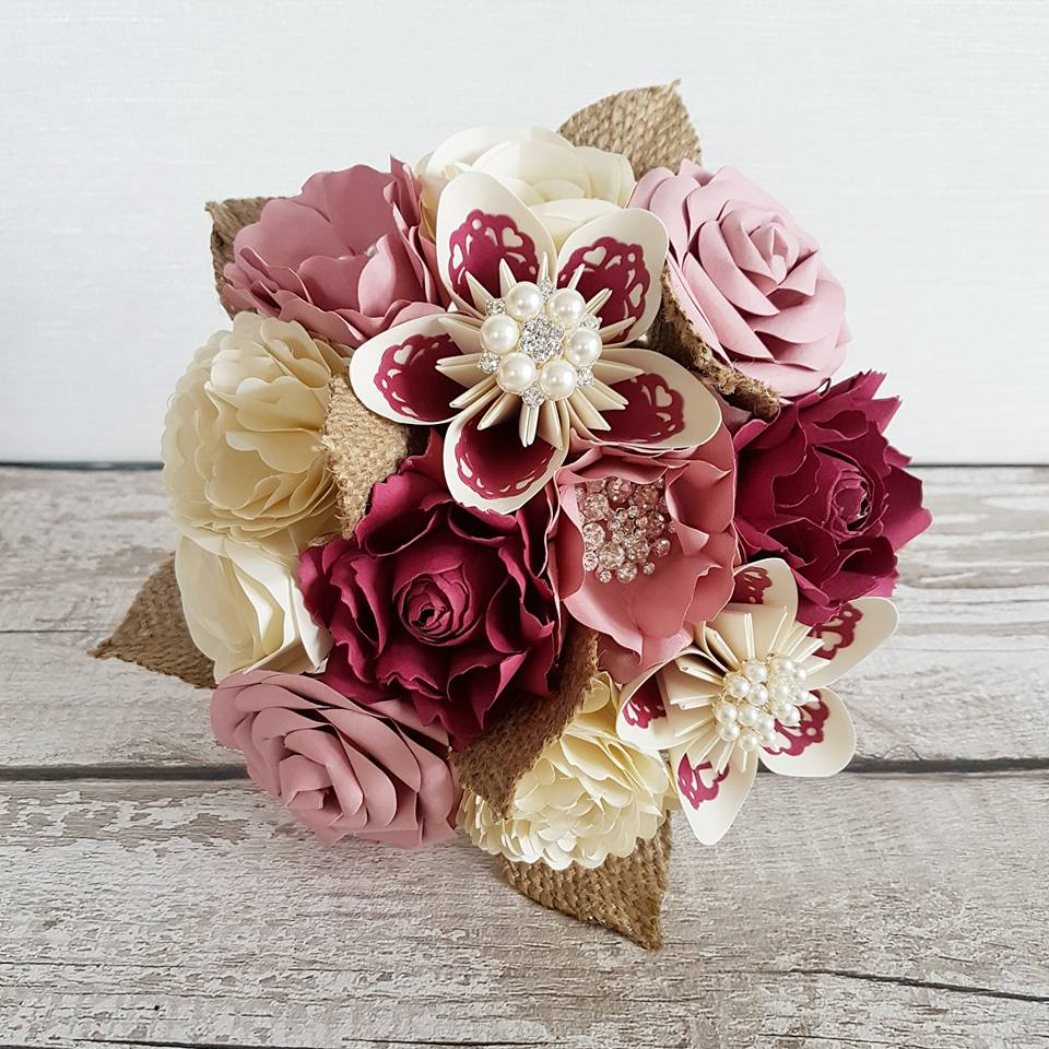 Pink Bouquet paper flowers