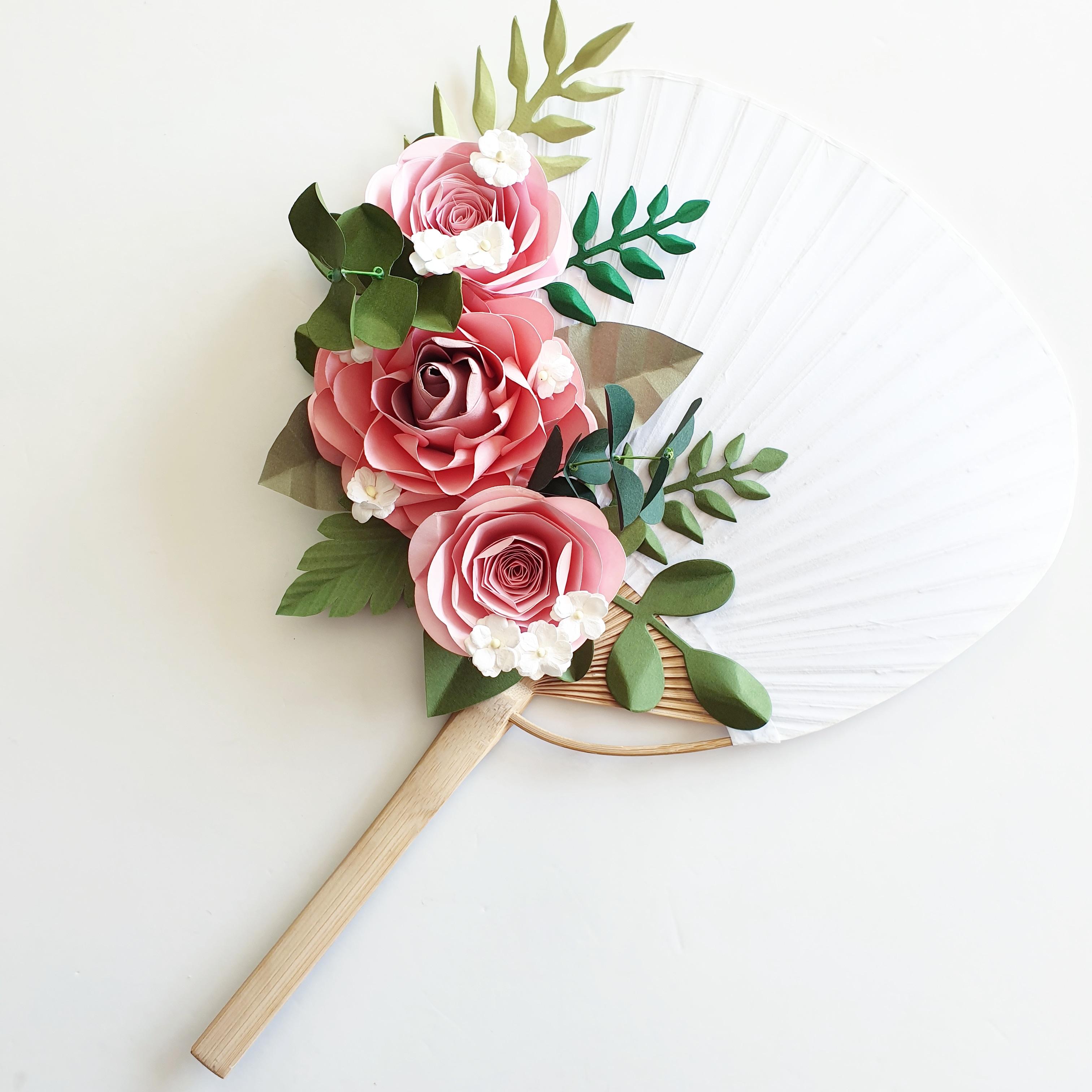 Paper Flower wedding bridal hand fan
