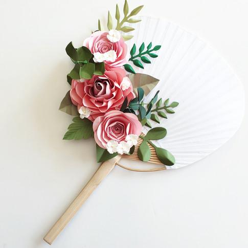 Paper Flower Hand Fan Wedding Bridesmaid alternative