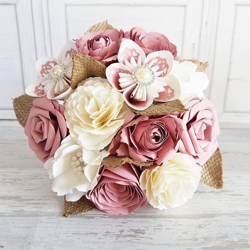 Pink paper bouquet
