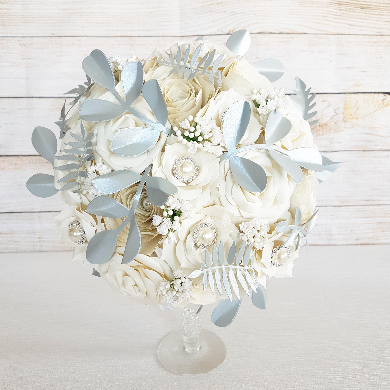 Silver grey bouquet paper flowers