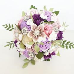Purple Pink paper flower wedding bouquet