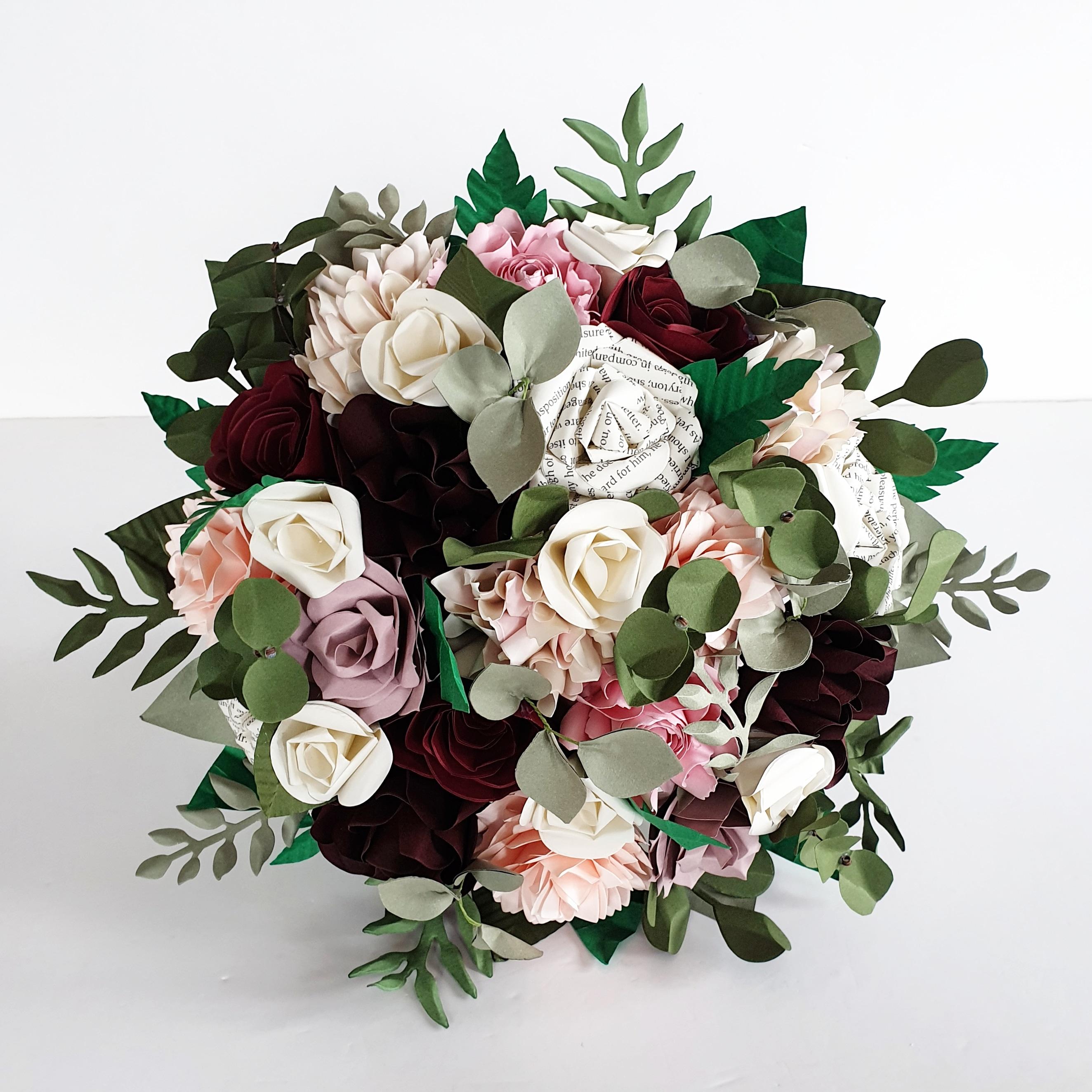 book bouquet paper flower wedding bride pink burgundy rose