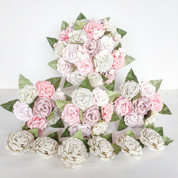 Pink book theme paper flowers wedding bridal bouquet