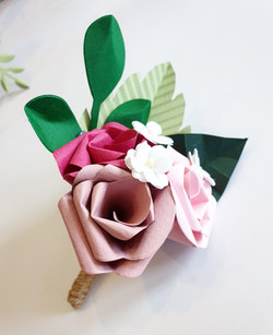 Paper flower Buttonhole Pink Rose