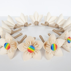 Kusudama buttonholes rainbow paper wedding groom