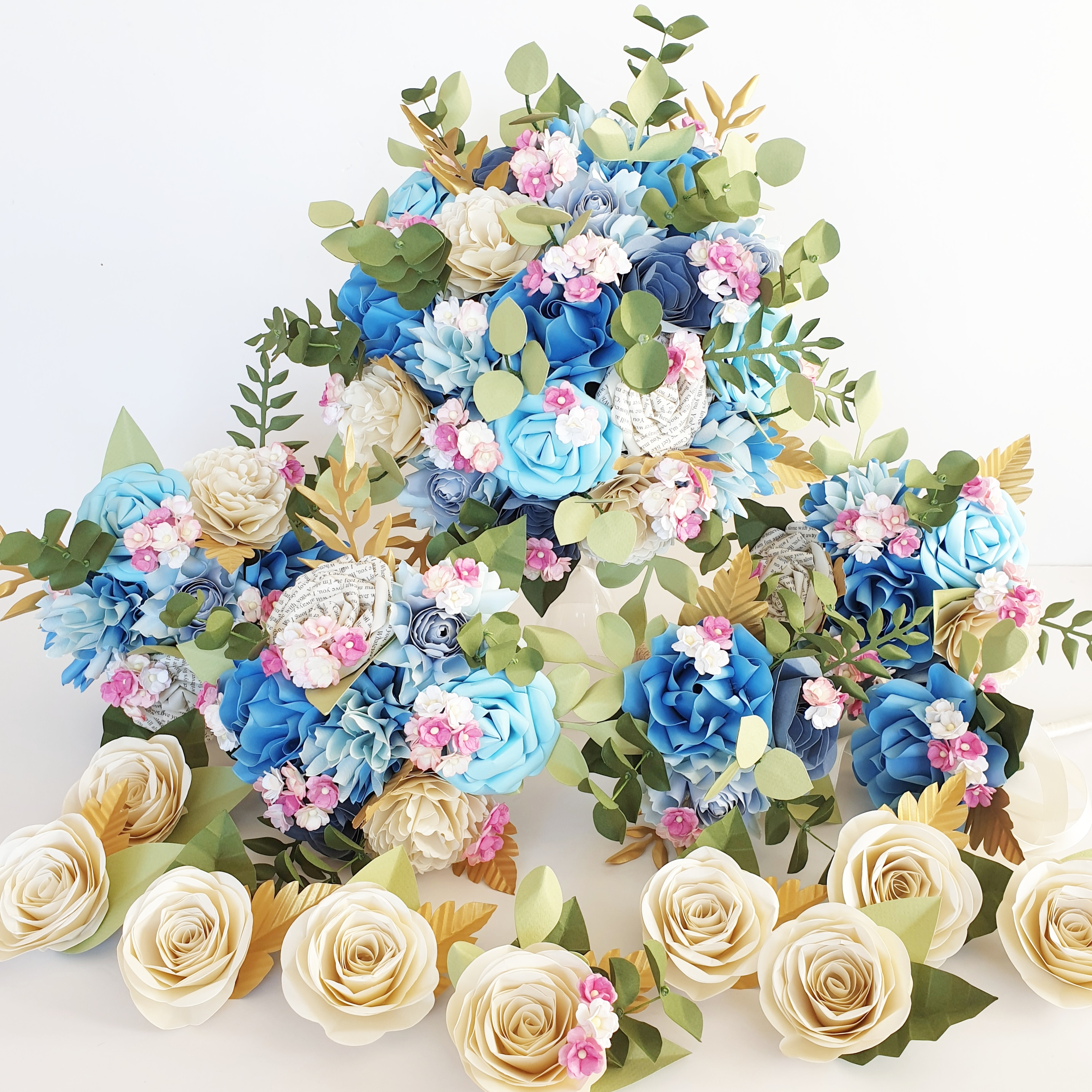 Blue paper flower luxury wedding bouquet blue