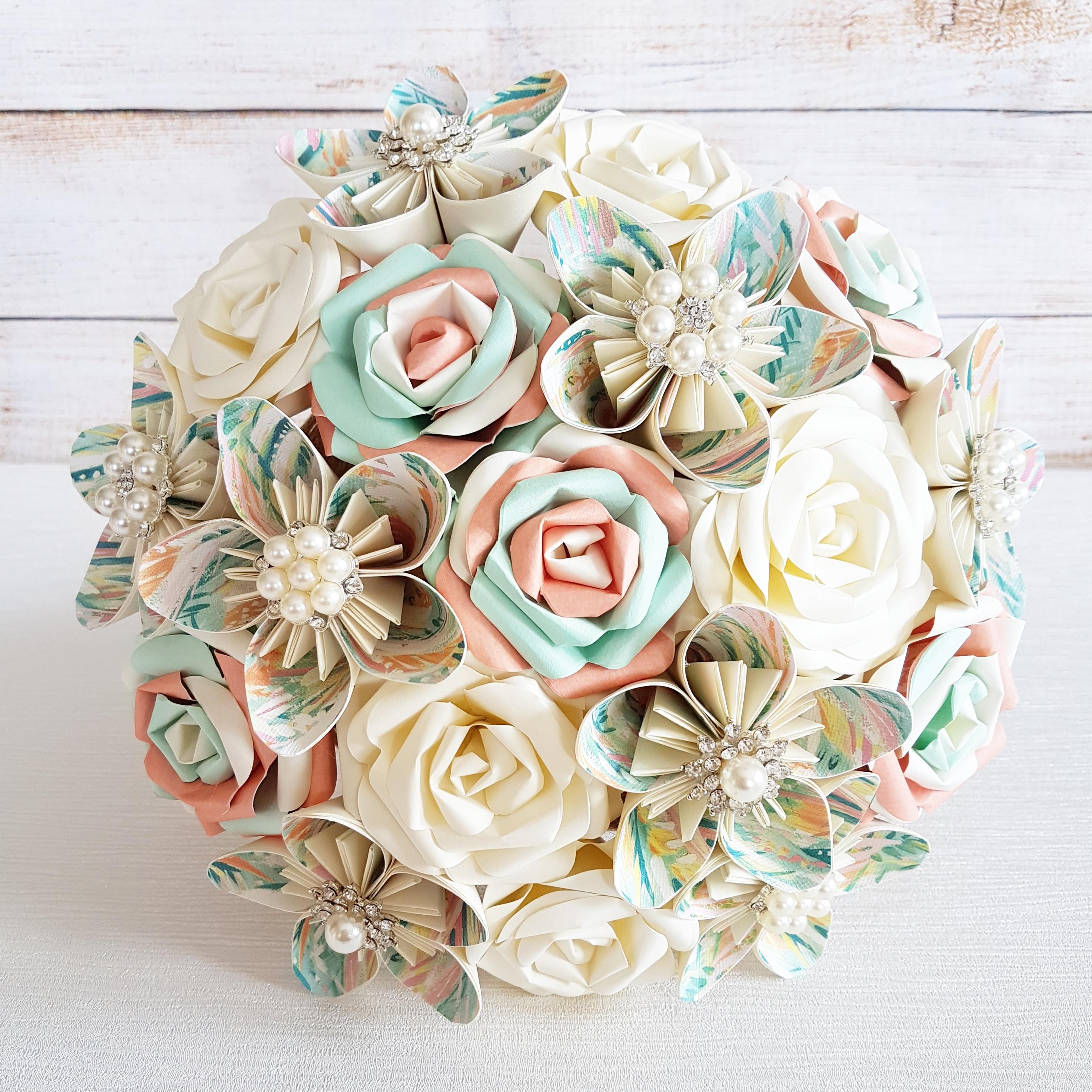Mint peach coral theme paper bouquet