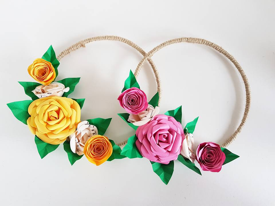 Bridesmaids Paper flower hoop