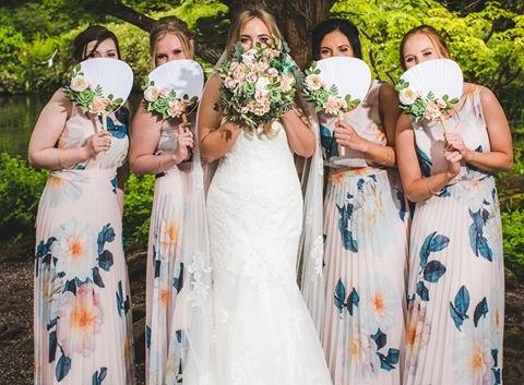 Paper Flower wedding bouquet hand fan