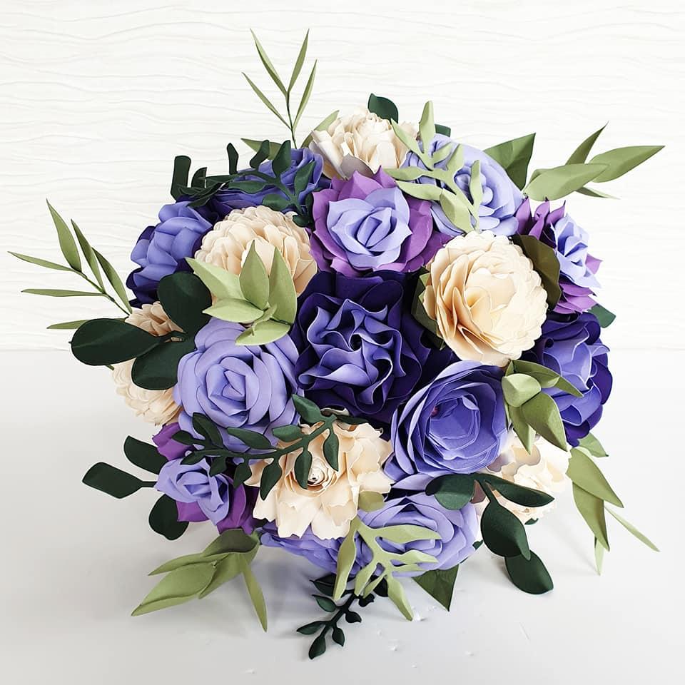 purple bouquet paper flowers
