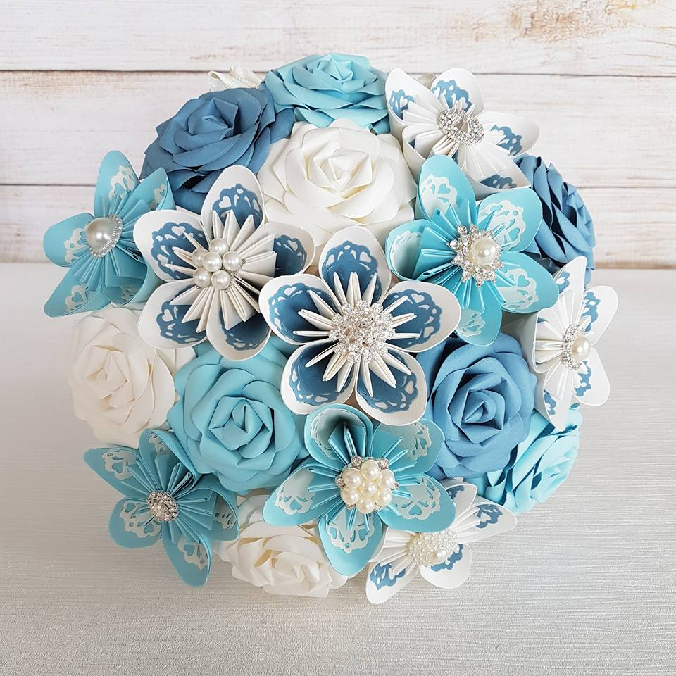 Blue paper flower bouquet