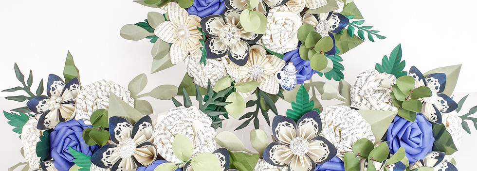 Paper Flower wedding bouuet Blue and White Book theme