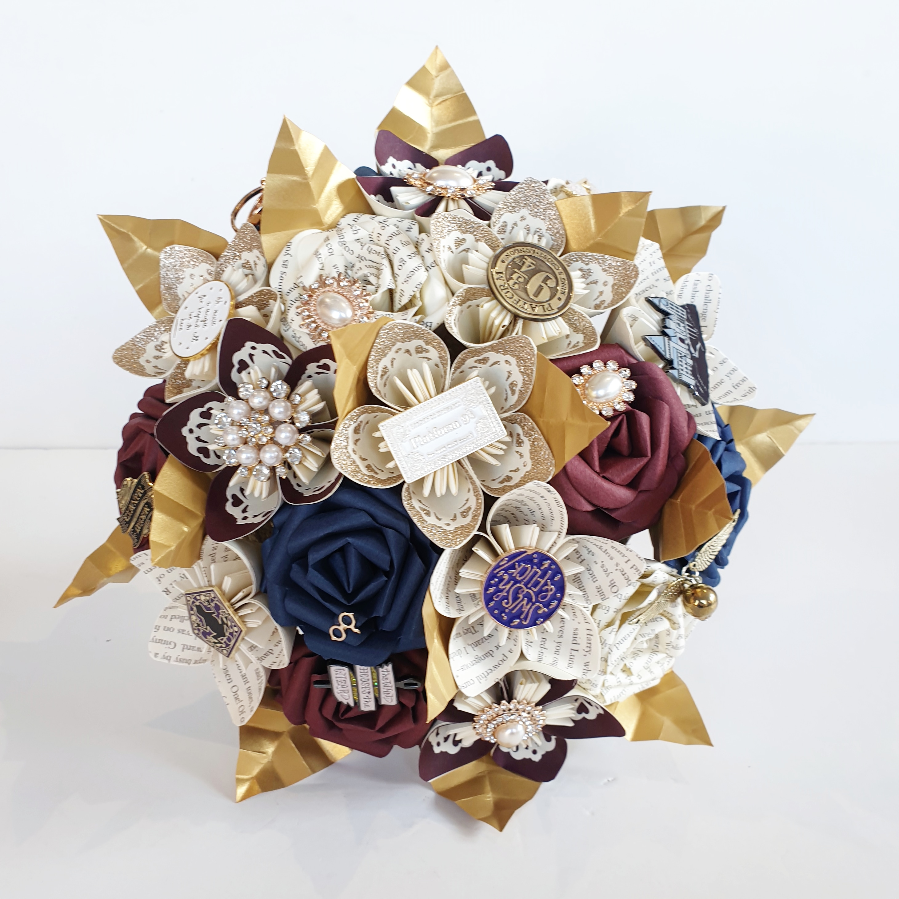 Harry potter paper flower navy burgundy theme wedding gold