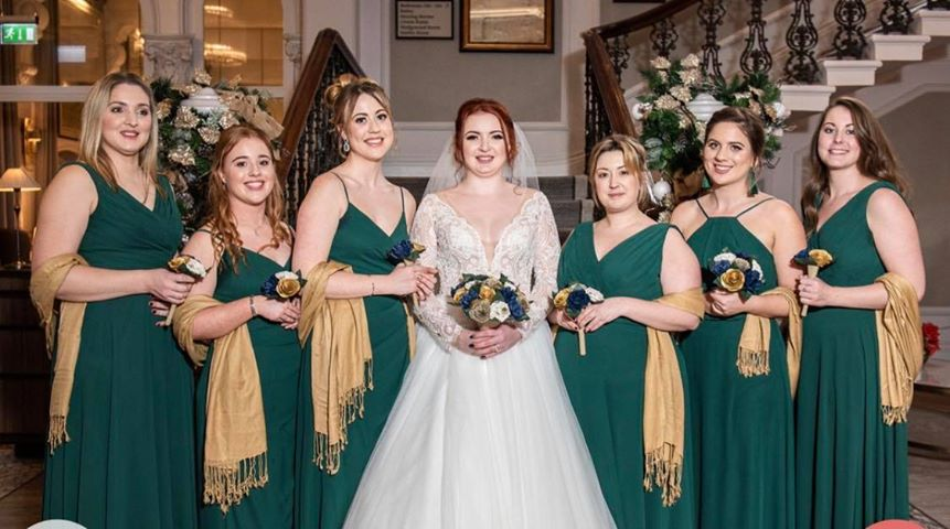 paper flowers wedding green dresses