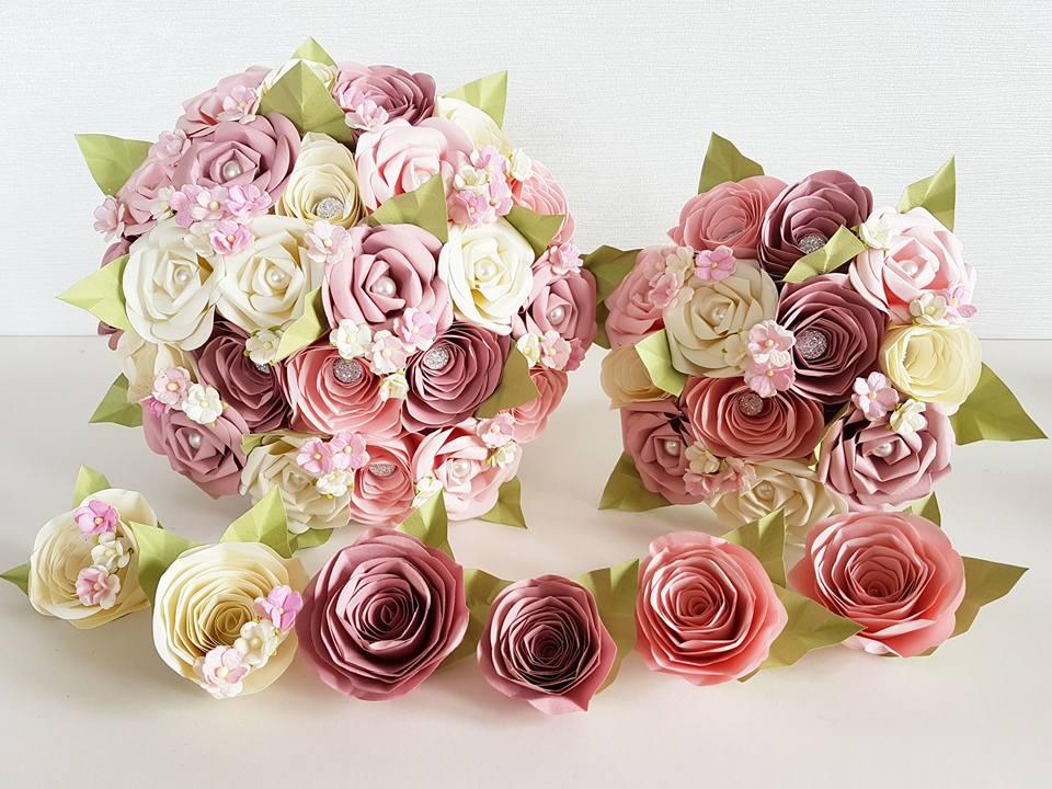 Pink paper flower bouquet
