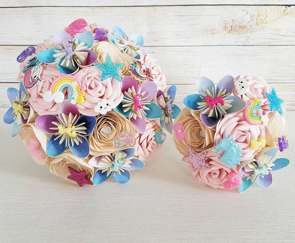 Unicorn wedding theme paper bouquet