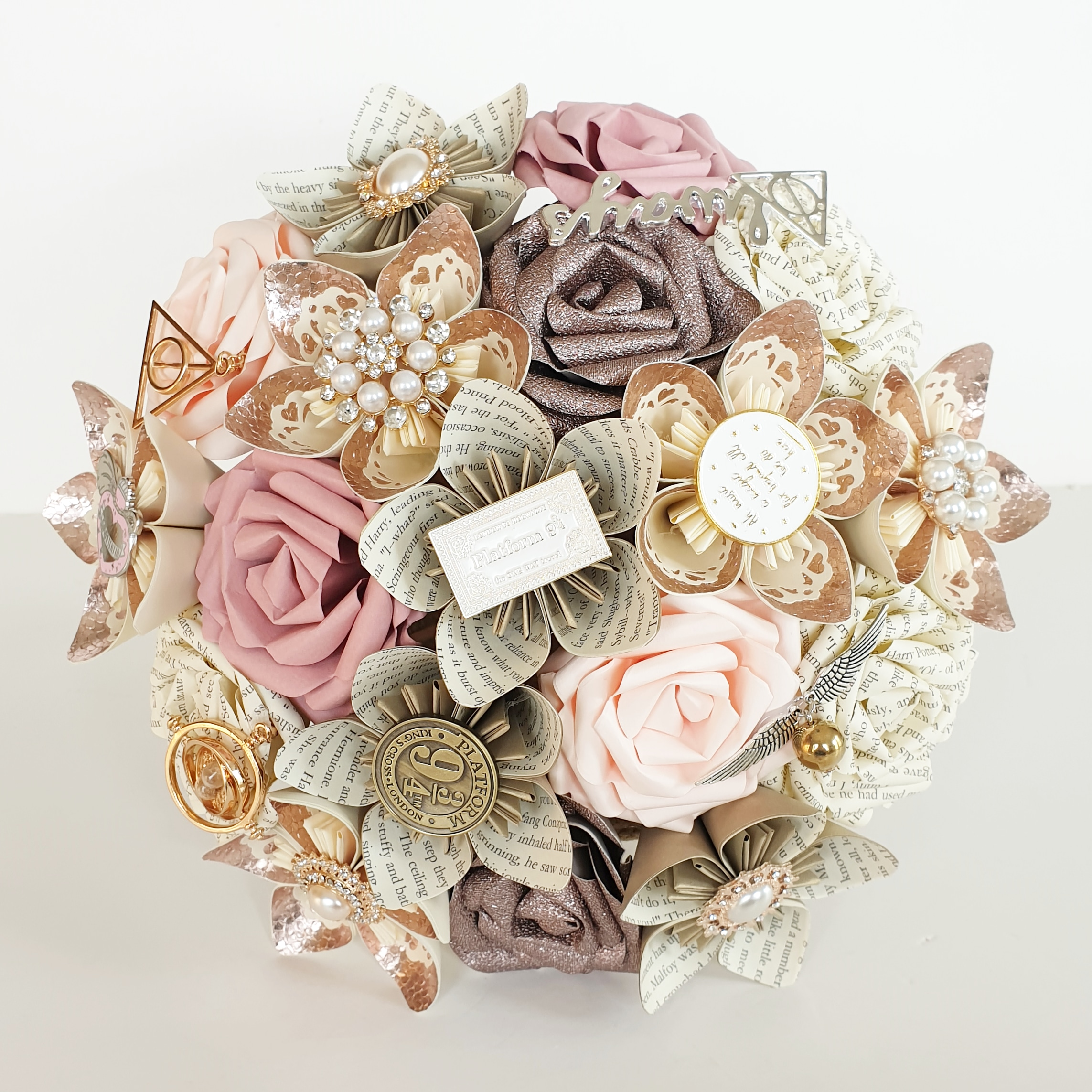 Harry Potter theme wedding bridal bouquet flowers paper book brooch