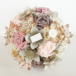 Harry Potter theme wedding bridal bouquet flowers paper book brooch