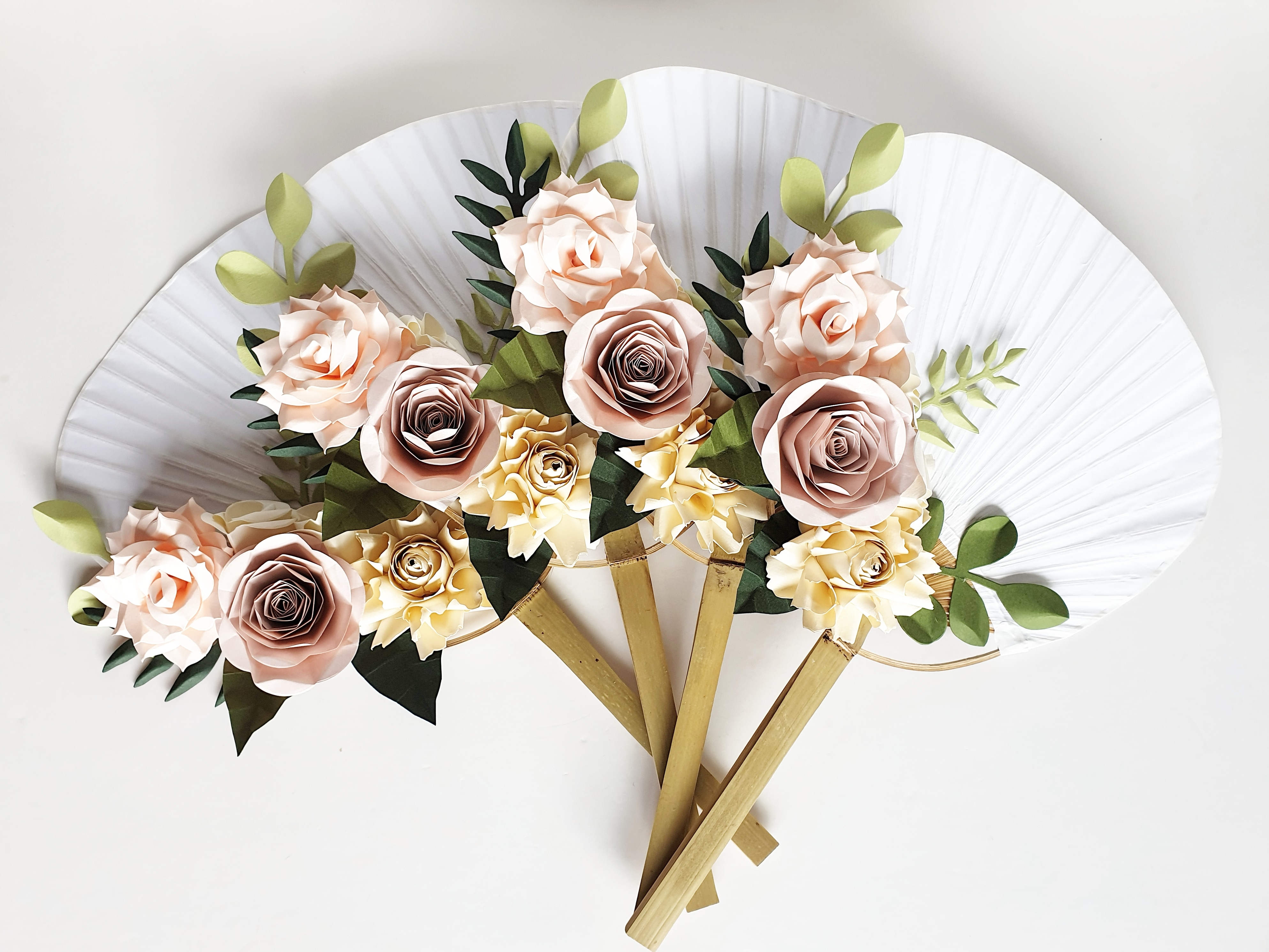 Alternative to flowers bouquet paper hand fan
