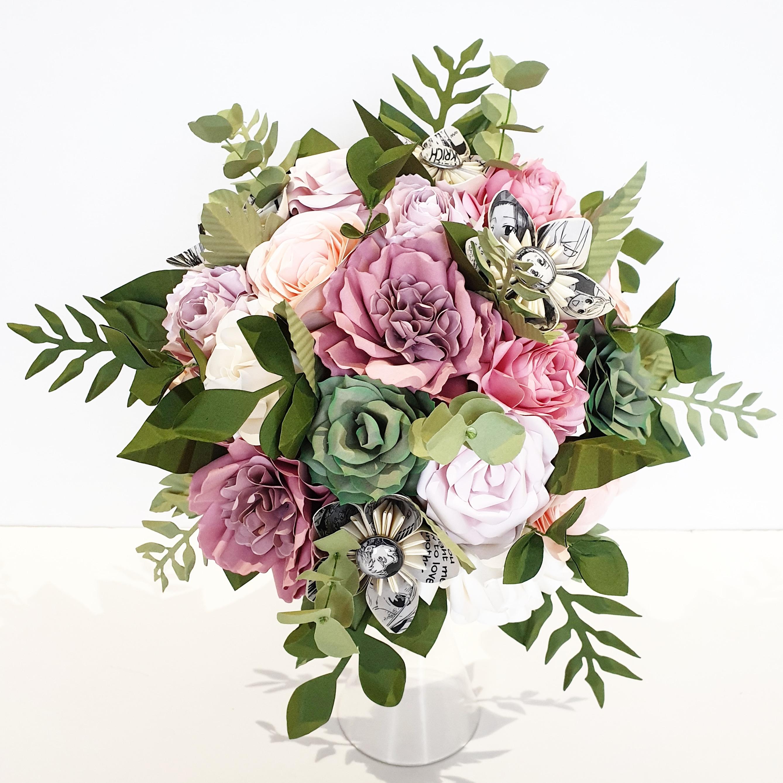 Pink rose peony succulent desert pink foliage bridal bouquet flowers paper