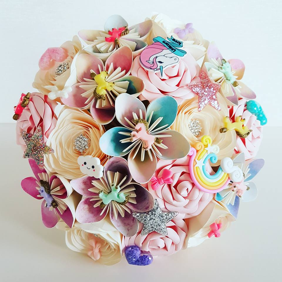 Unicorn Bride paper bouquet