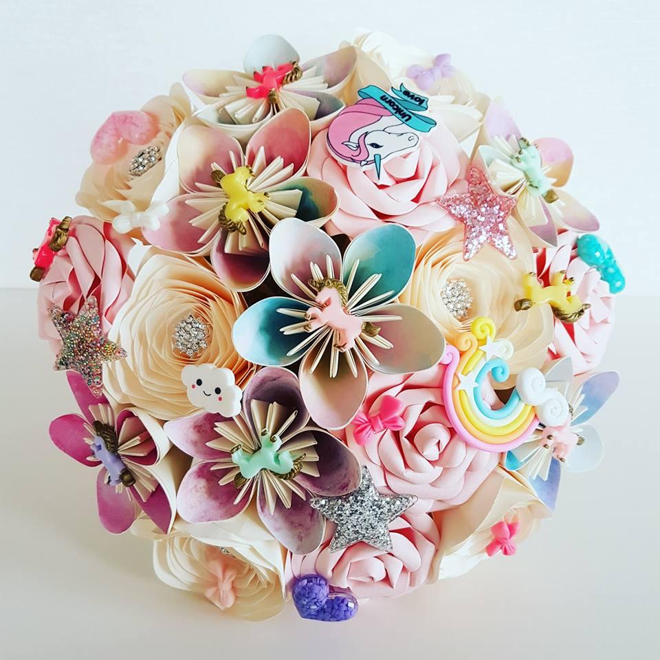 Unicorn Bride paper bouquet
