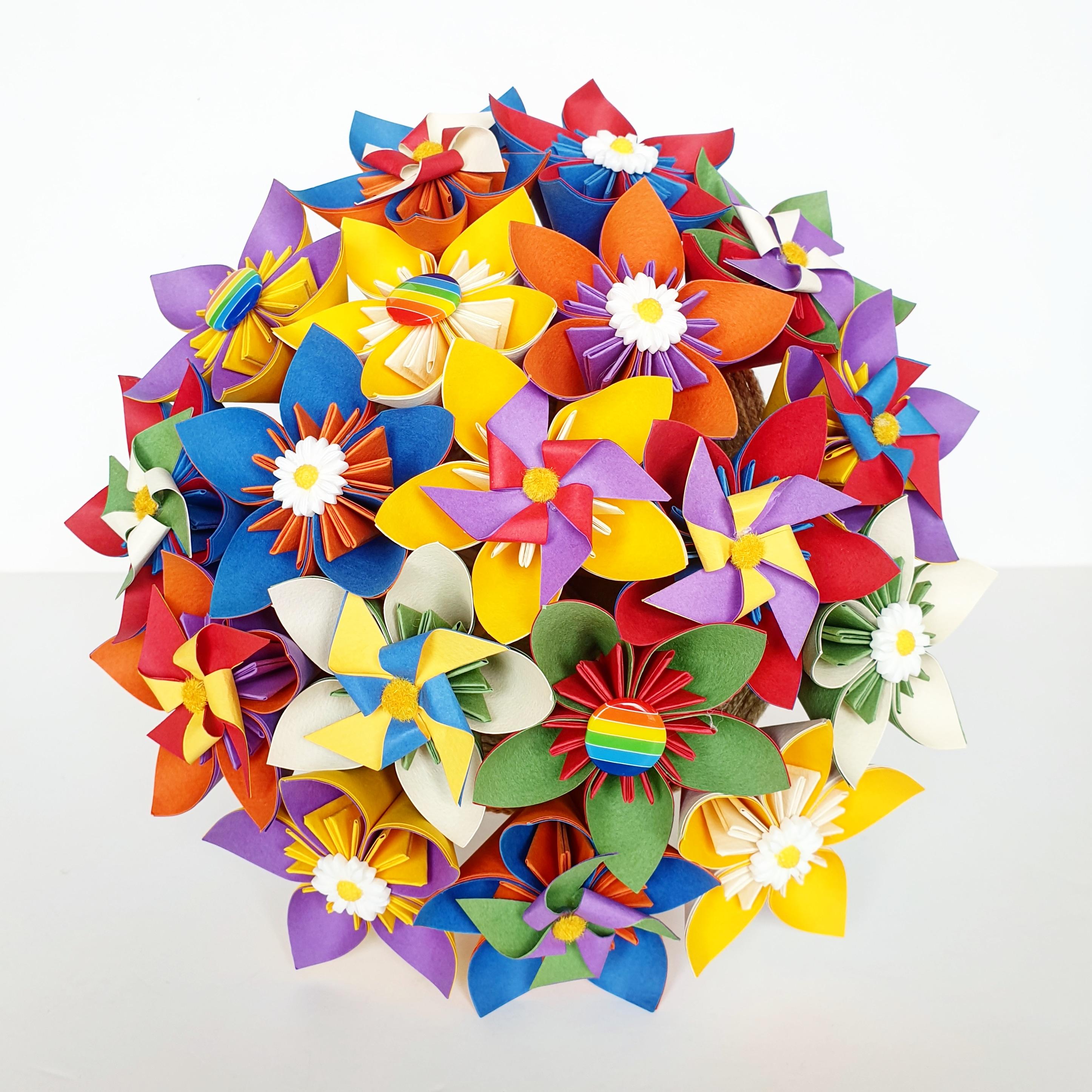Pin Wheel paper flower Kusudama Origami Bouquet