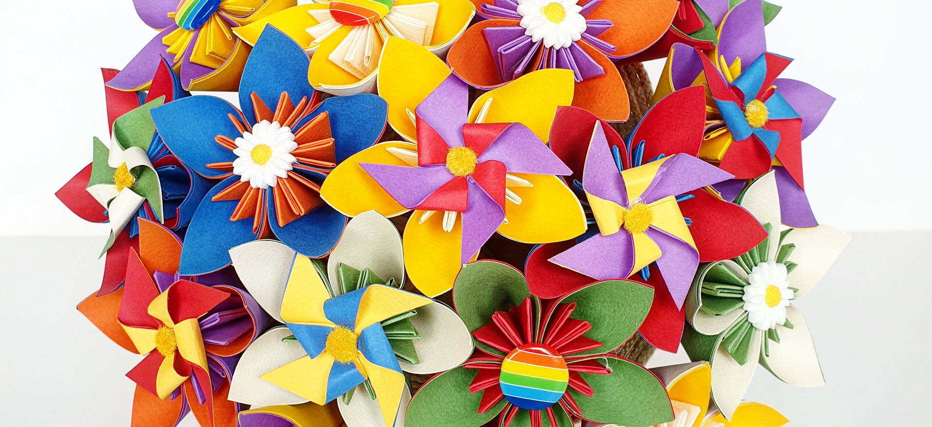 Paper Flower Origami Kusudama Pin Wheel Rainbow Bouquet