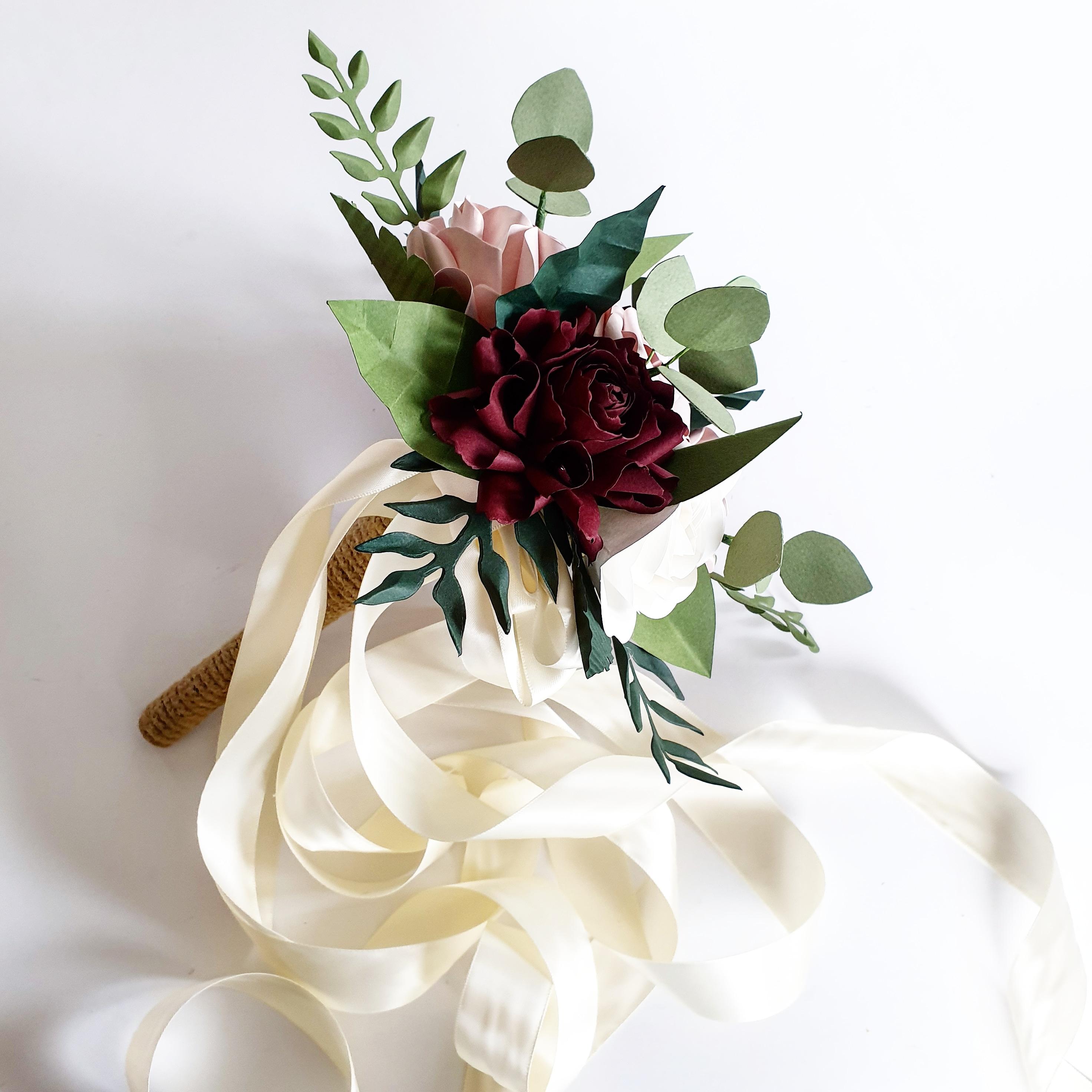 Paper Flower wedding bouquet paper red burgundy greenery