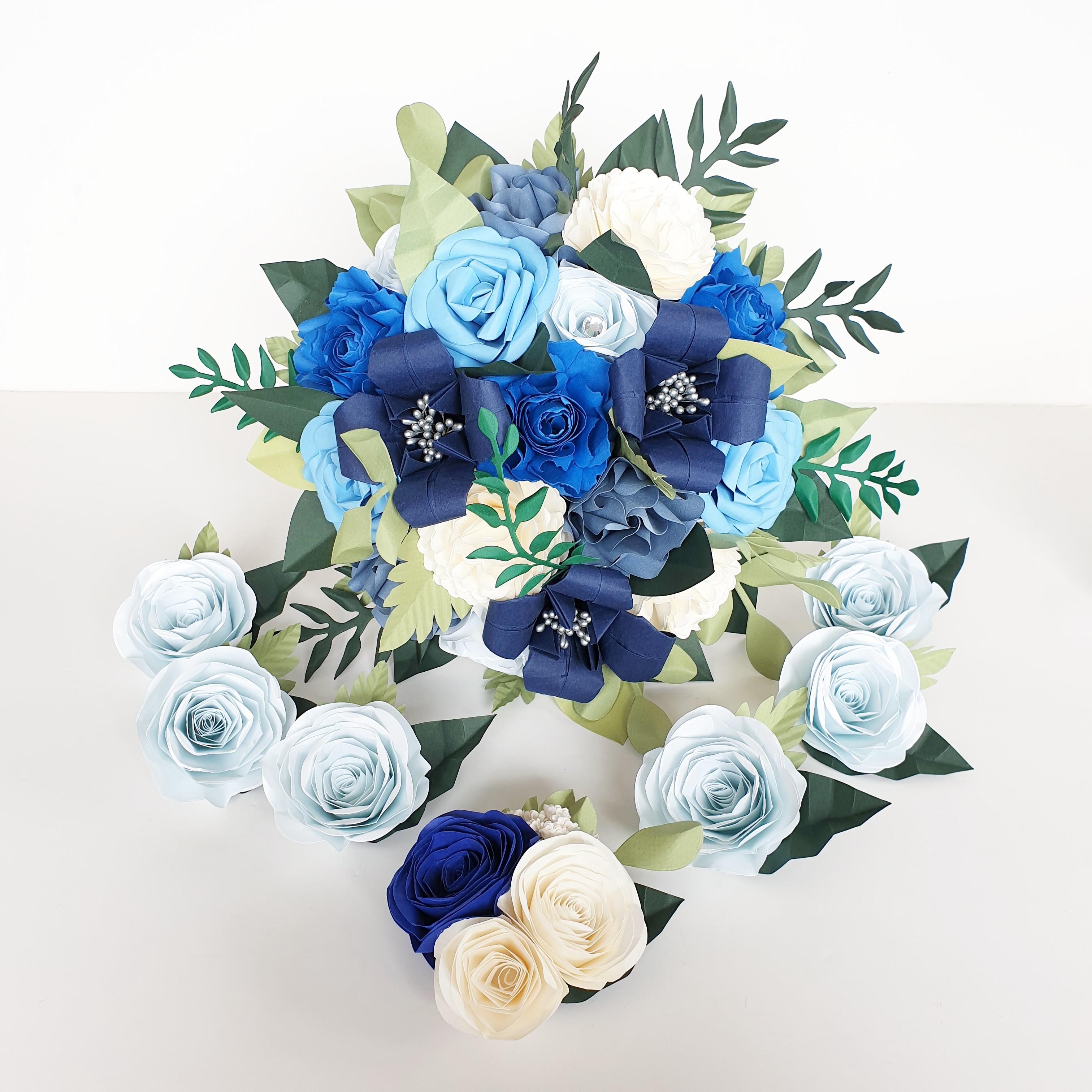 Blue theme wedding celestial star wars theme wedding bride paper flowers bouquet