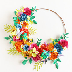 Hoop Bouquet flowers bridal wedding bright rainbow