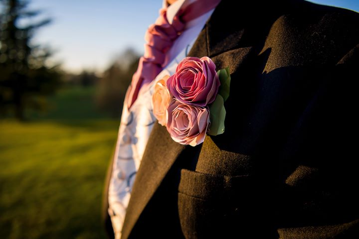 Paper flower rose buttonhole