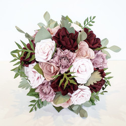 Burgundy pink green foliage rose wedding bridal bouquet theme colours