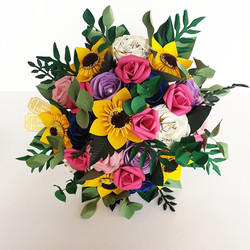 Sunflower and Rose wedding bridal bouquet paper flowers