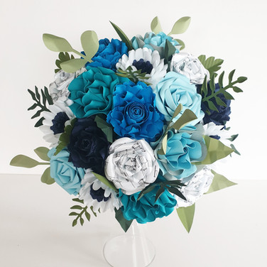 Something Blue wedding Bridal bouquet paper flowers