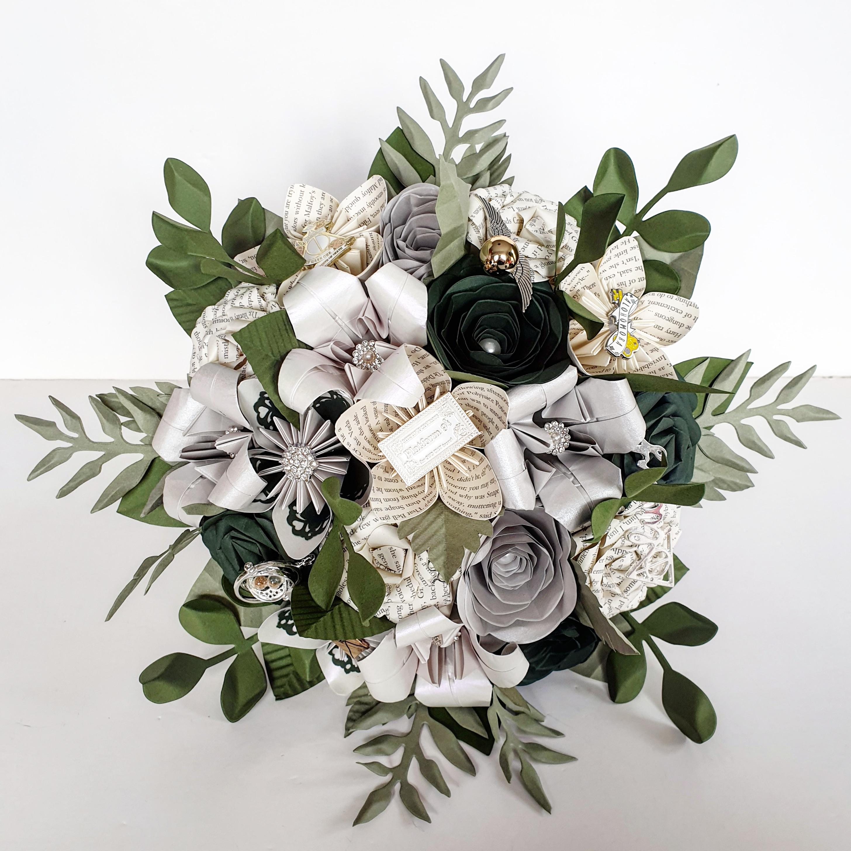 Harry Potter slytherine wedding theme bridal flowers bouquet ideas