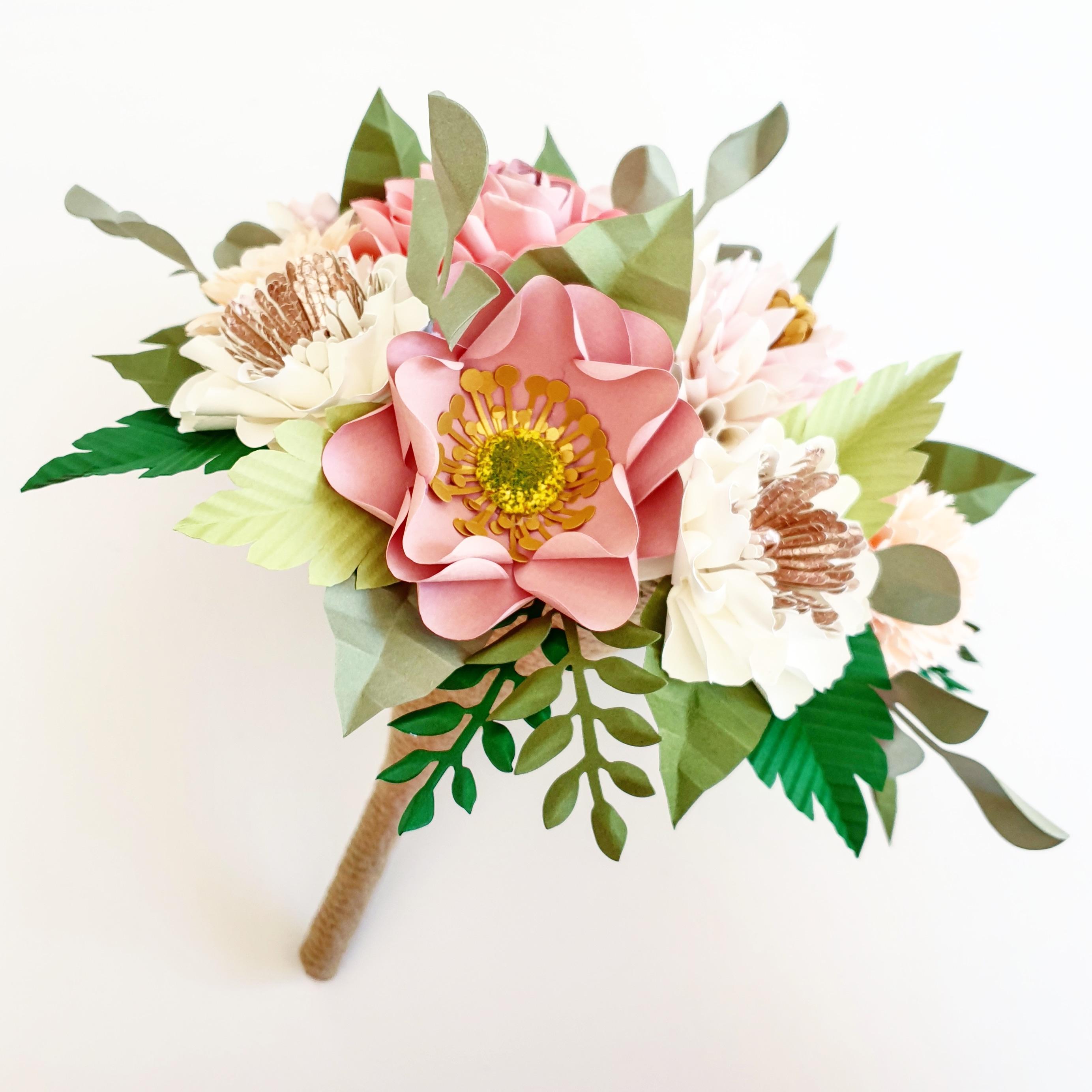 Pink flower wedding bridal bouquet