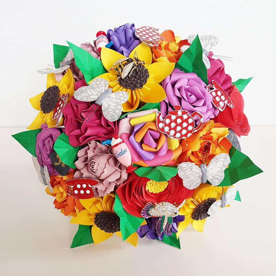 Bright paper flower bouquet