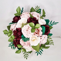 Red Bordeaux Burgundy Blush Pink Wedding flower bridal Bouquet