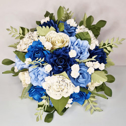 Blue and White theme wedding paper flowers décor bridal bouquet