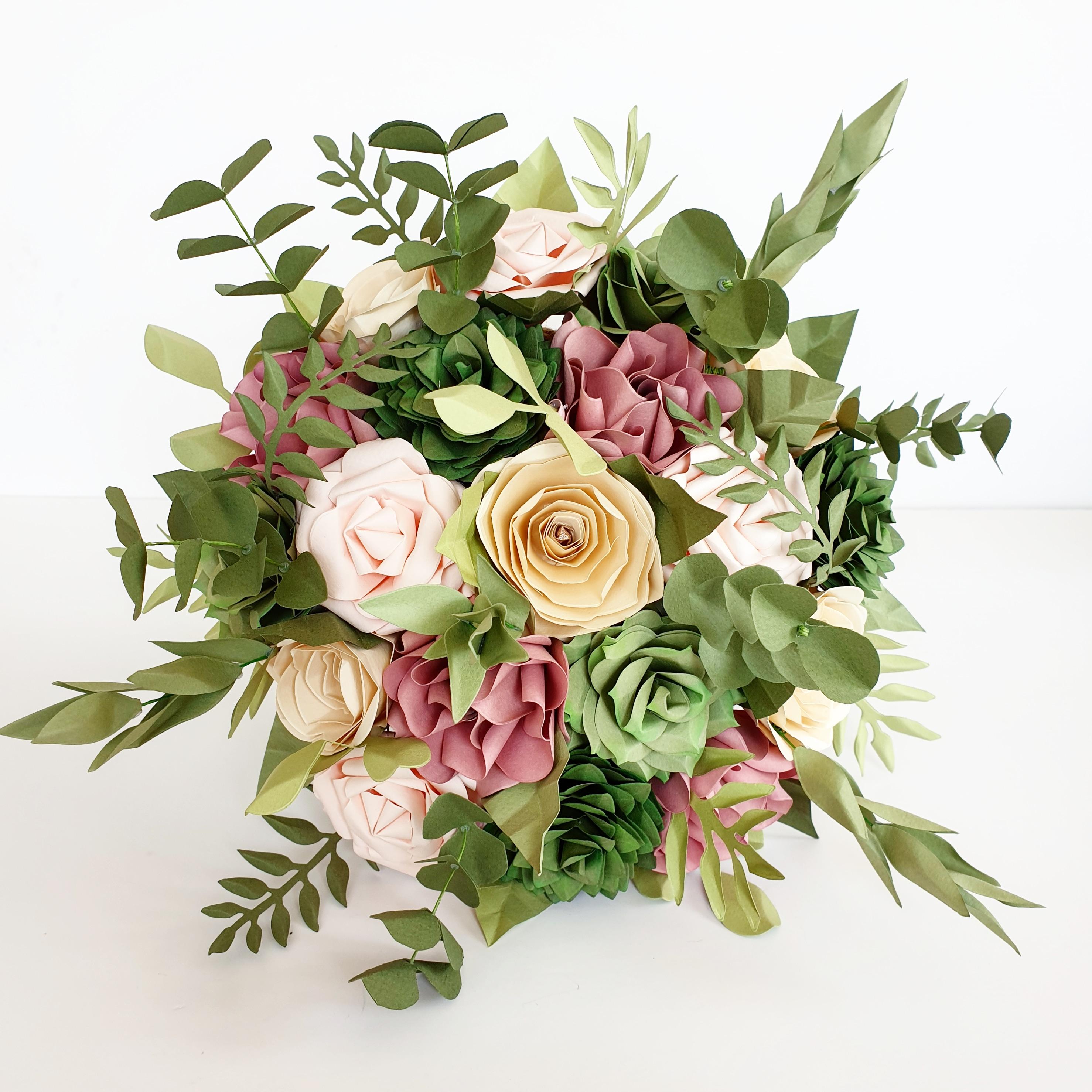 paper flower bridal wedding bouquet