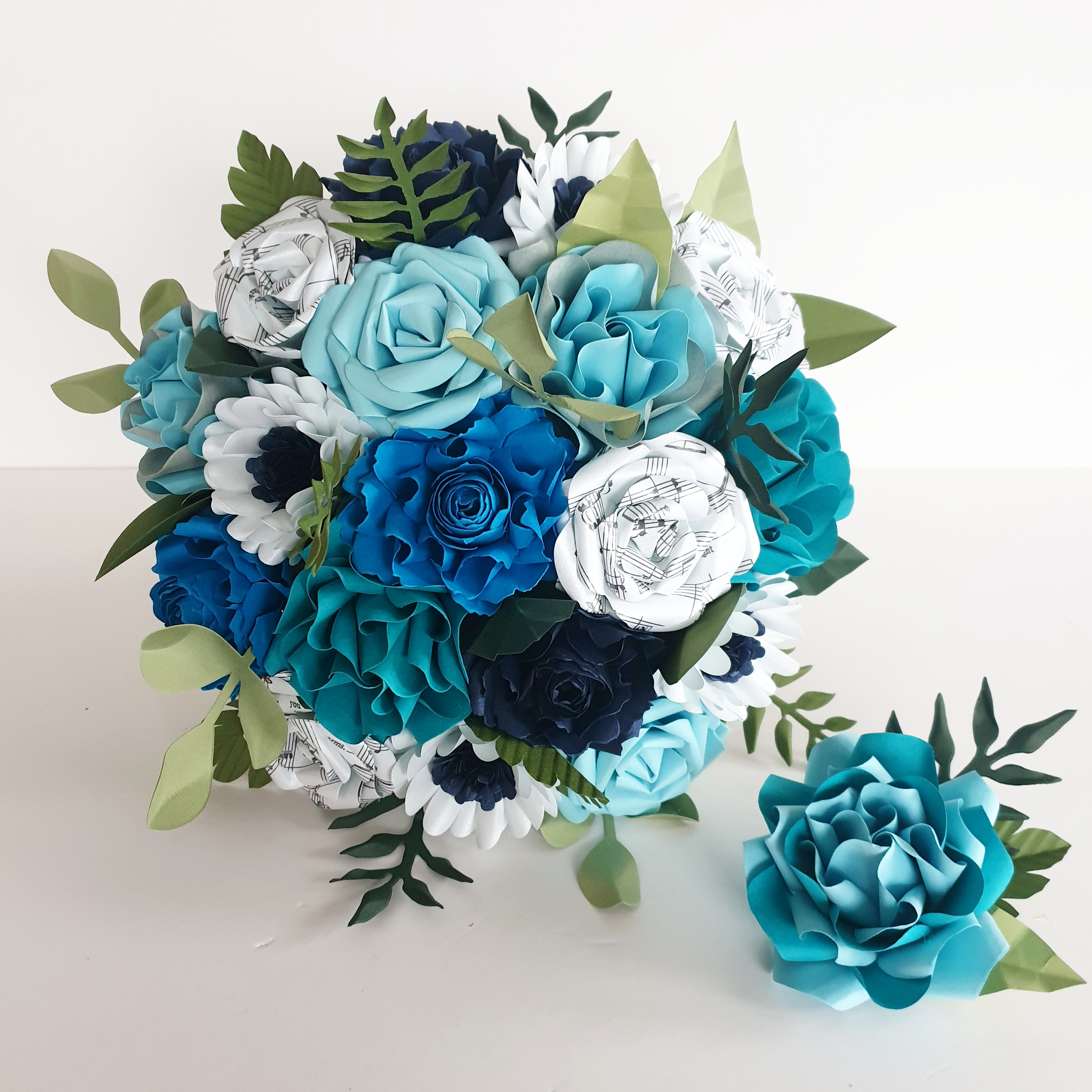 Paper flower bride bouquet something Blue