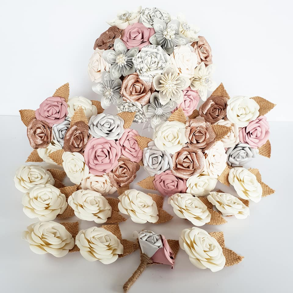 rose gold paper flowers bouquet