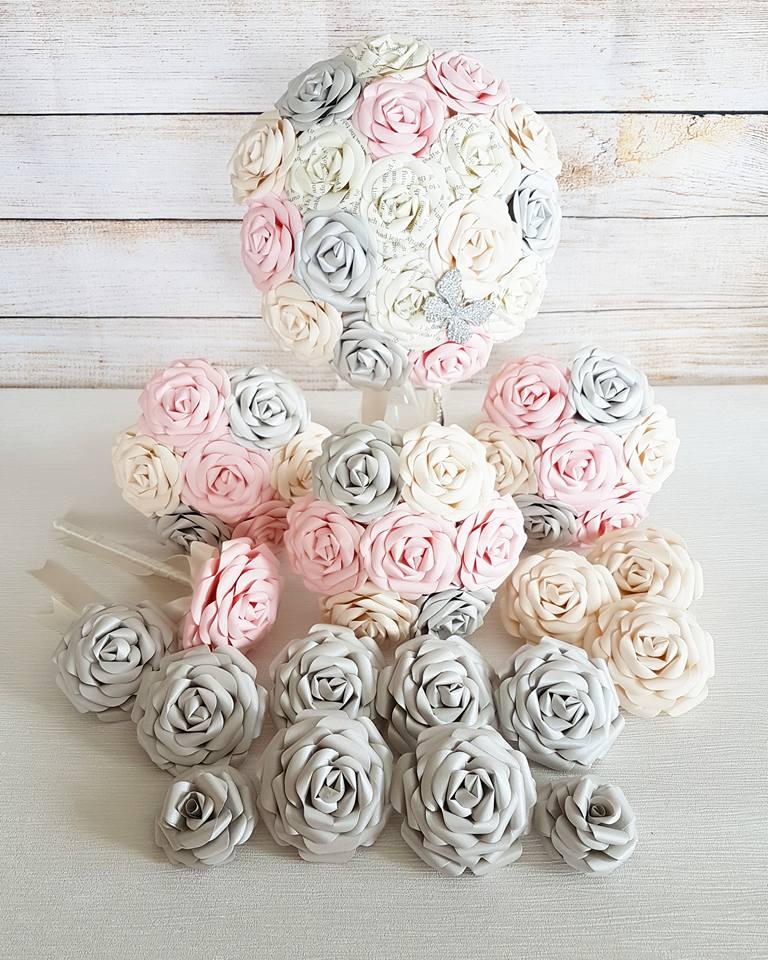 Pink Silver theme wedding bouquet