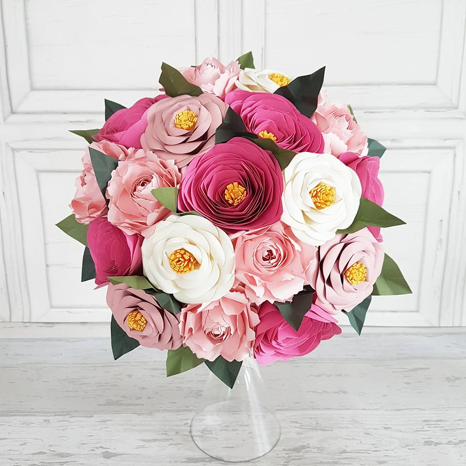 Pink White Peony Rose paper bouquet