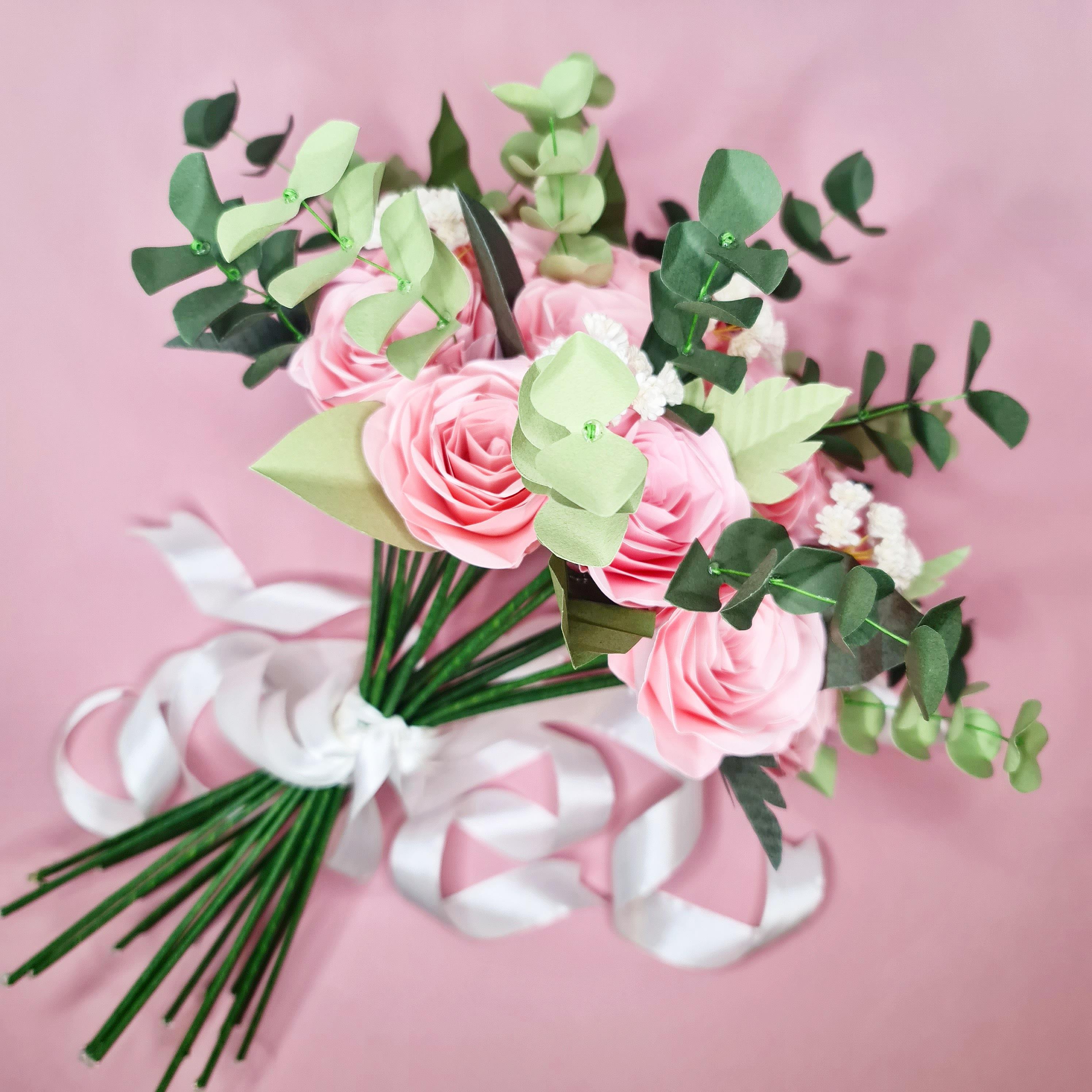Eucalyptus Paper Flower pink roses bouquet