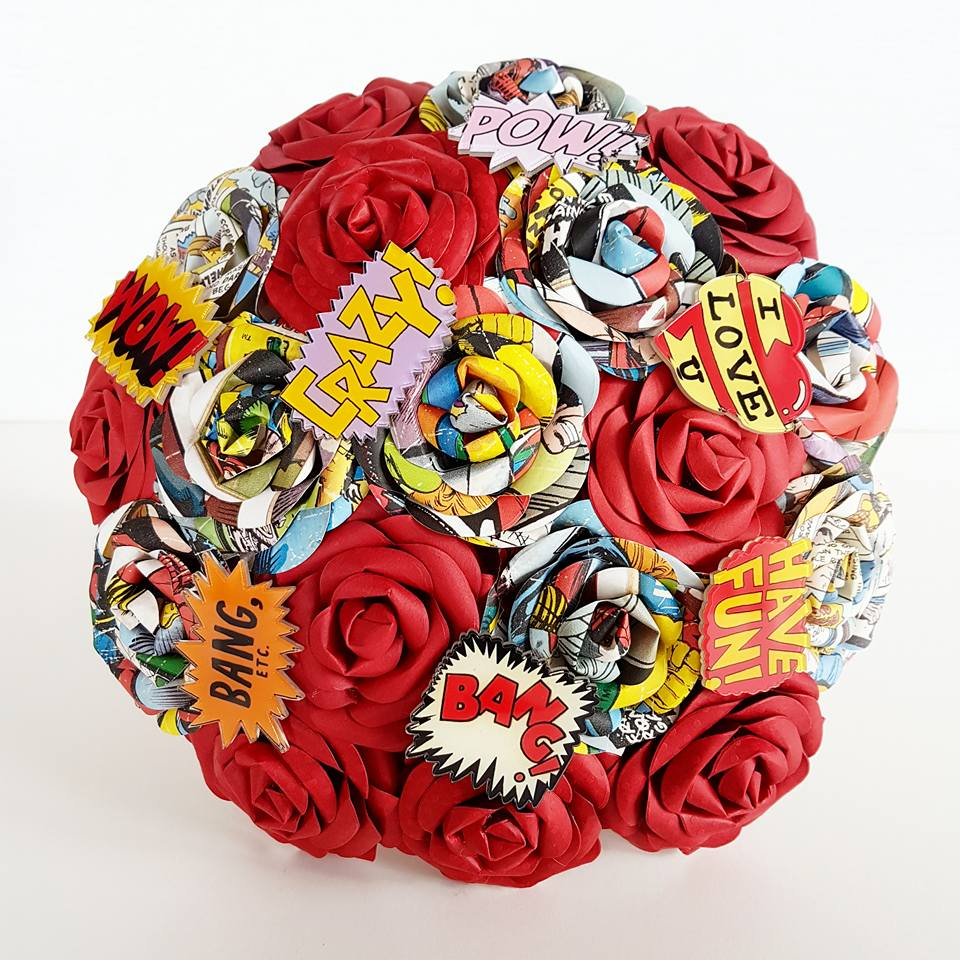 Comic book Marvel paper bouquet