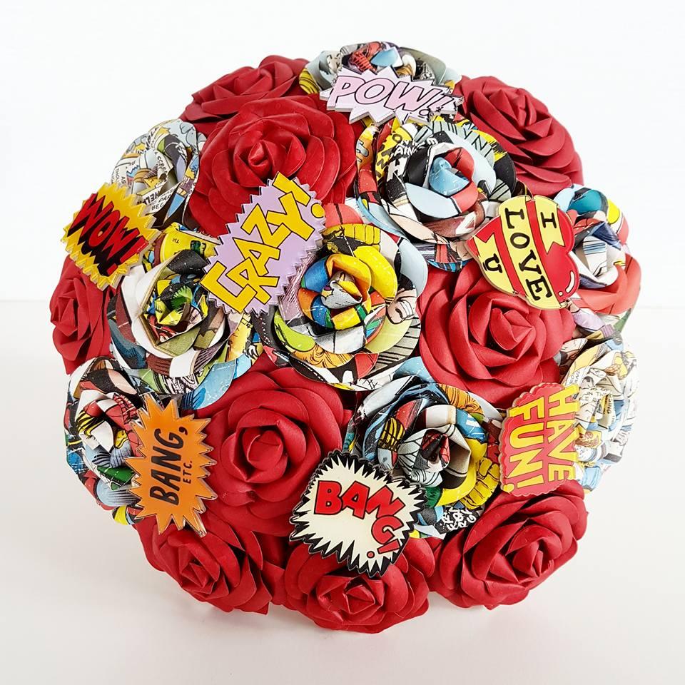 Comic book Marvel paper bouquet