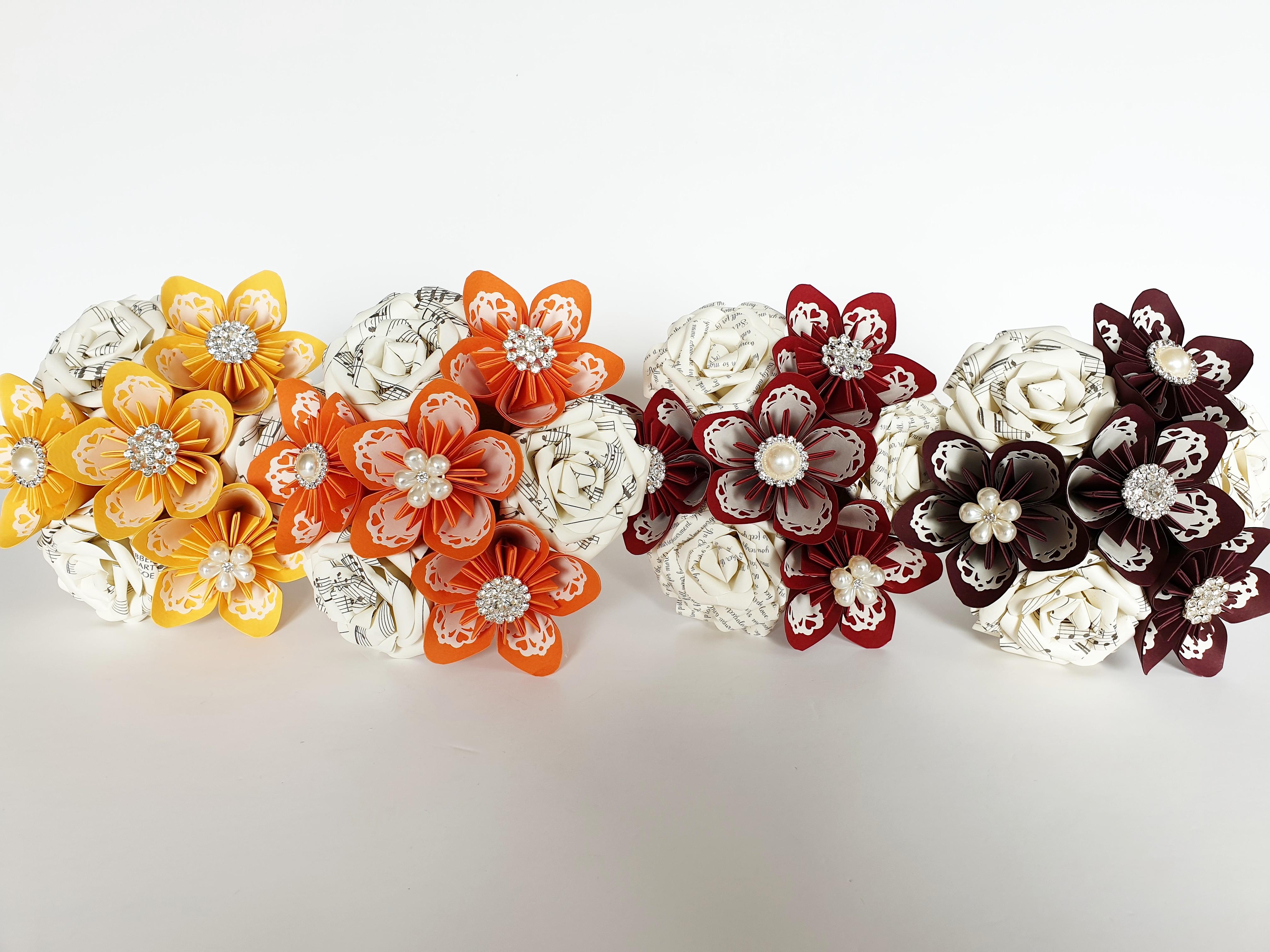 Paper Flower bridesmaids autumn